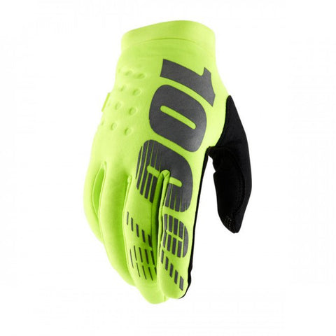 100% Brisker Glove Fluo Yellow