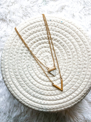 Geo Necklace White Marble