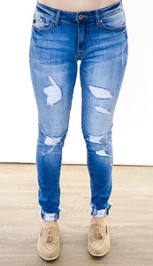The Chloe Mid Rise Ankle Skinny Jeans