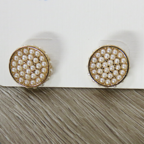 Pearl Accent Round Earrings