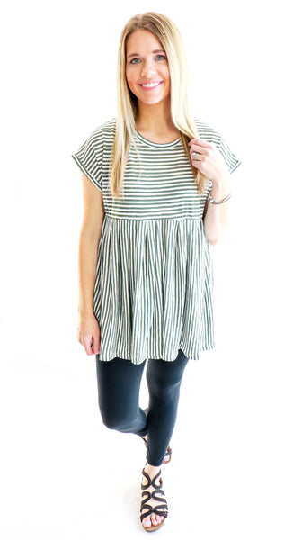 Eloise Striped Babydoll Top Olive