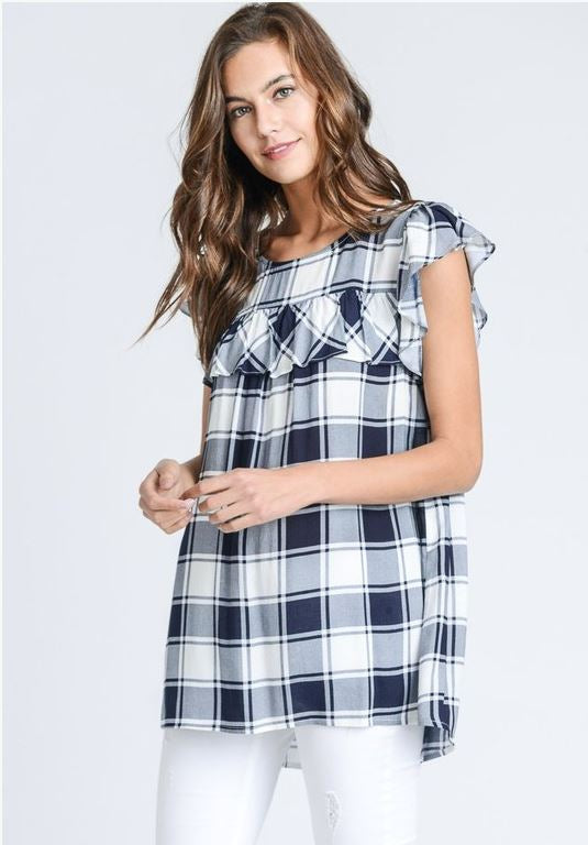 Ainslee Checkered Ruffle Top