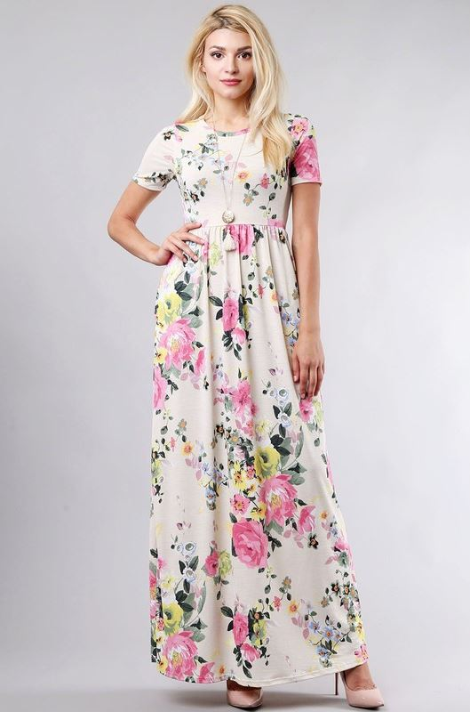 Ashley Floral Maxi in Cream