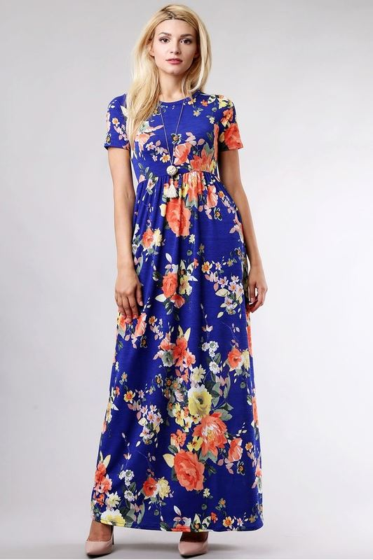Ashley Floral Maxi in Royal Blue