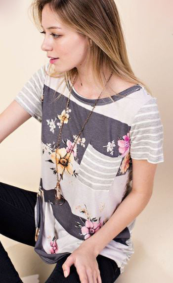 Bethany Floral Stripe Top in Grey
