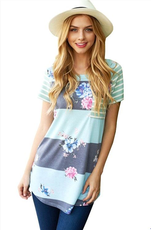 Bethany Floral Stripe Top in Mint