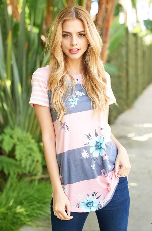 Bethany Floral Stripe Top in Pink