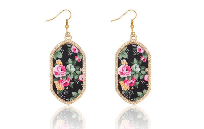 Large Vintage Gold Geometric Earrings in Black Floral