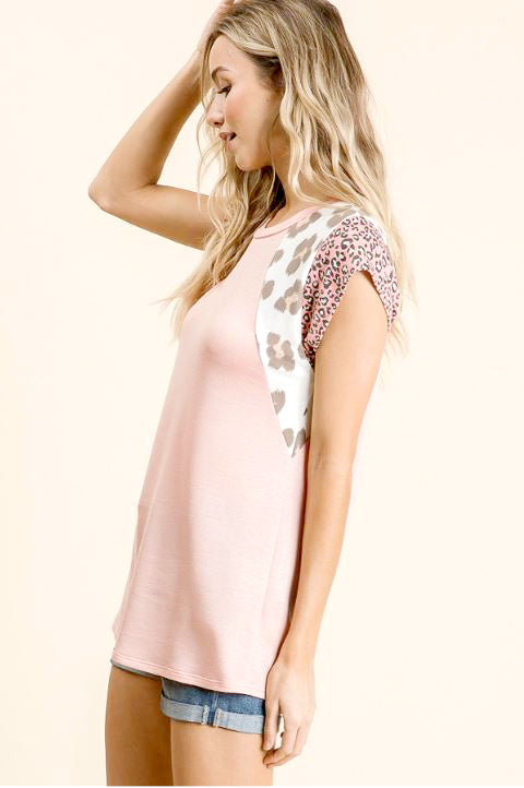 Baseball Leopard Top in Pink