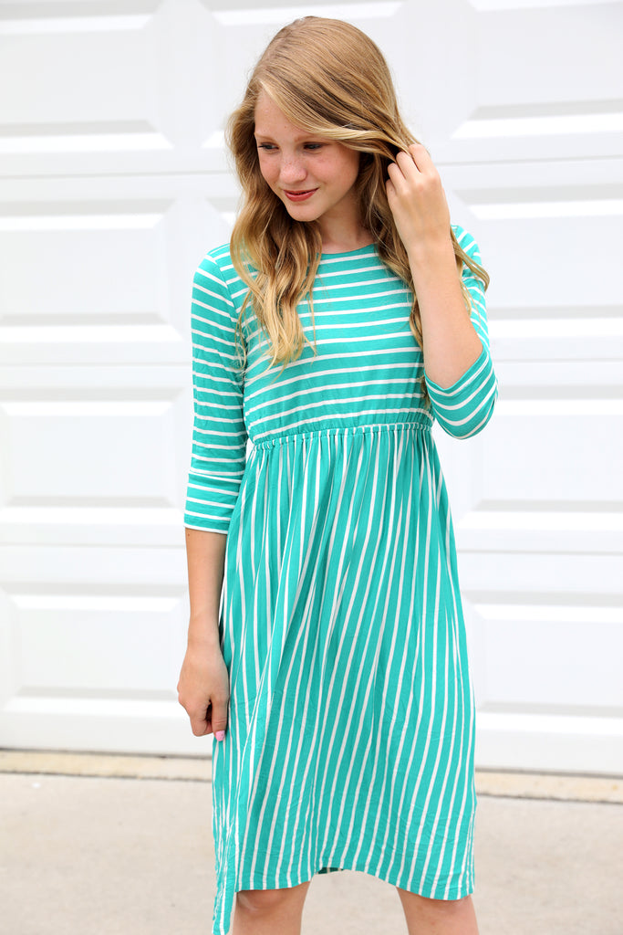 Darcy Striped Midi in Teal
