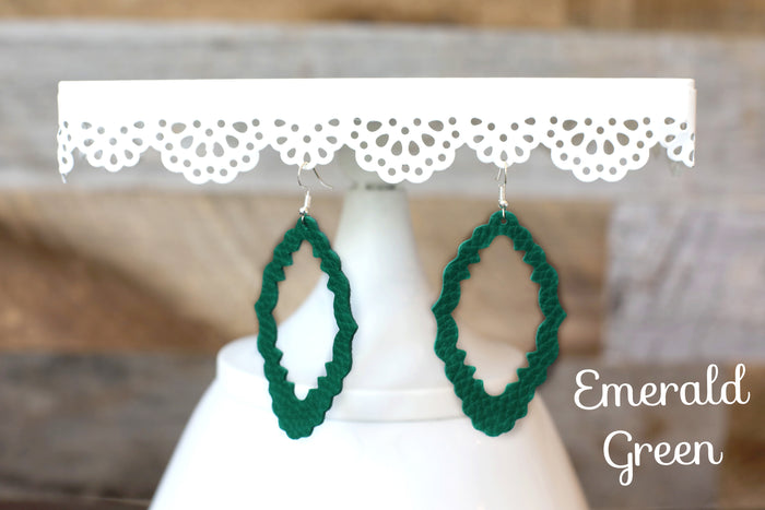Faux Leather Filagree Earrings in Green