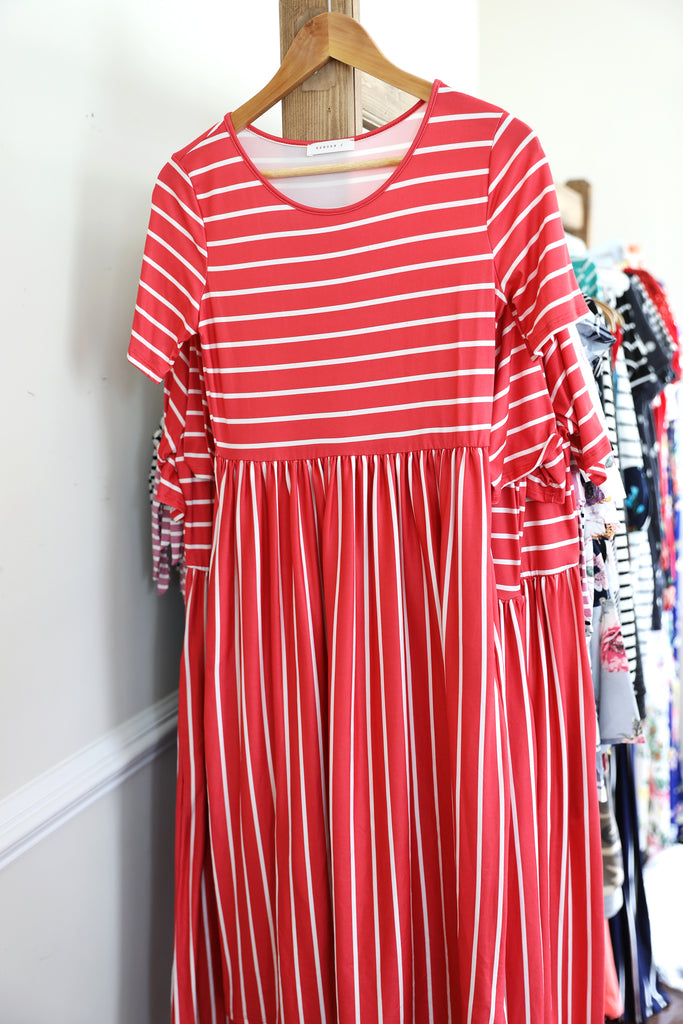 Eva Stripe Midi in Coral