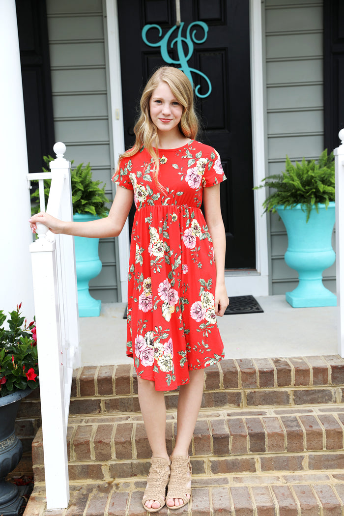 Sydney Floral Midi in Red
