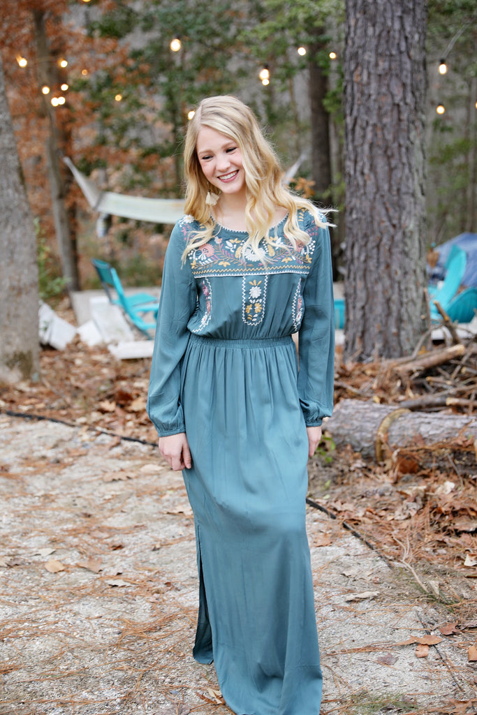 Sadie Smocked Maxi in Kale