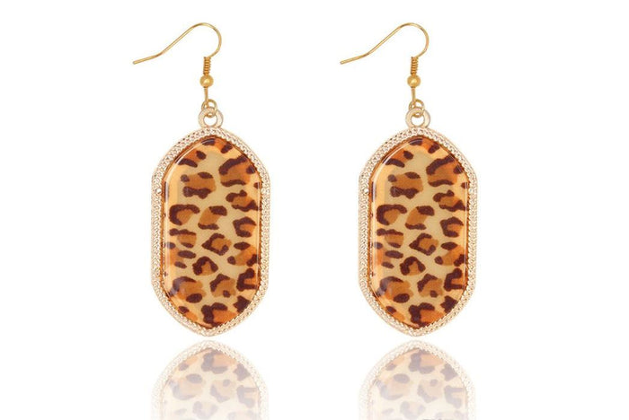 Large Vintage Gold Geometric Earrings in Leopard Print