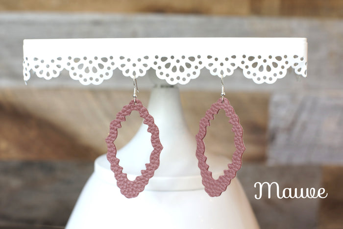 Faux Leather Filagree Earrings in Mauve