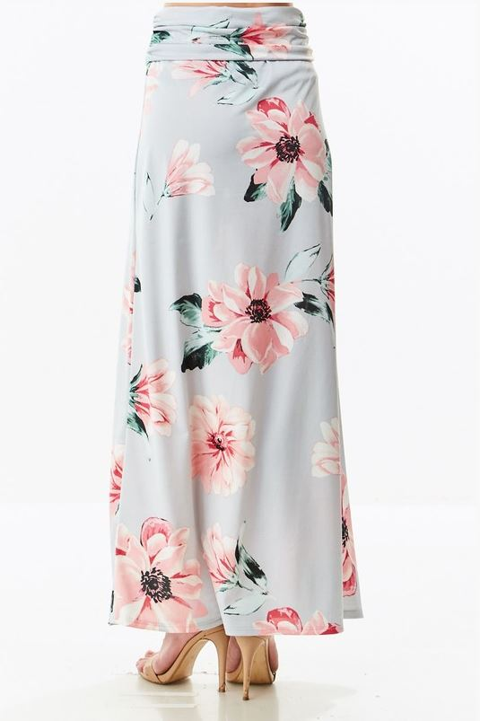 Audrey Maxi Skirt in Silver Gray