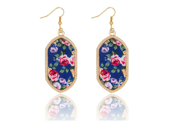 Large Vintage Gold Geometric Earrings in Navy Floral