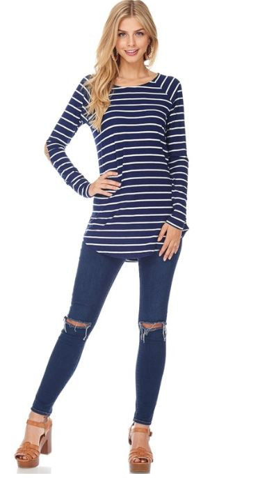 Stella Striped Raglan Top - Navy