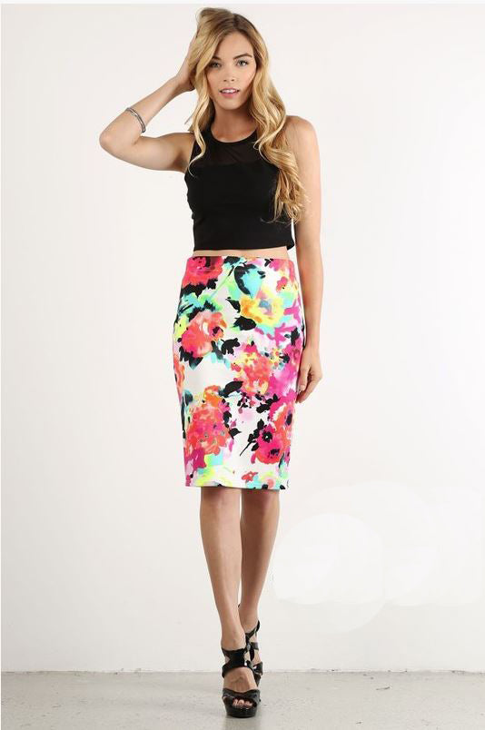 May Day Pencil Skirt in Neon