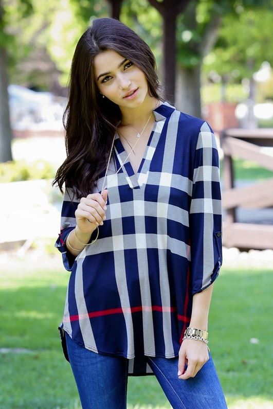 Urban Life Windowpane Blouse - Navy