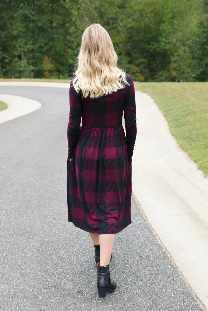 Perfectly Plaid Fit 'n' Flare Midi in Plum