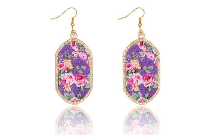 Large Vintage Gold Geometric Earrings in Purple Floral