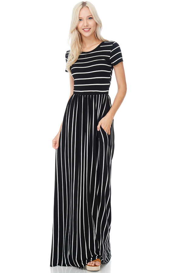 Sienna Striped Pocket Maxi in Black/Ivory Stripes