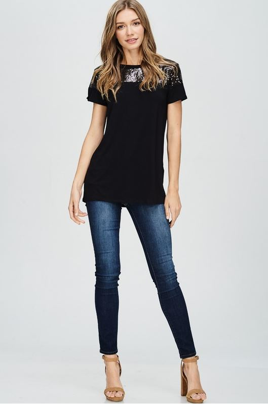 Perfectly Sequin Date Night Top in Black
