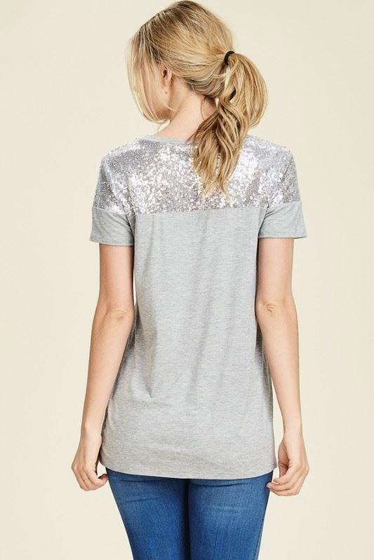 Perfectly Sequin Date Night Top in Heather Gray