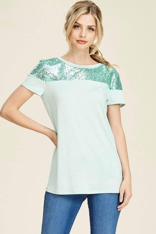 Perfectly Sequin Date Night Top in Mint