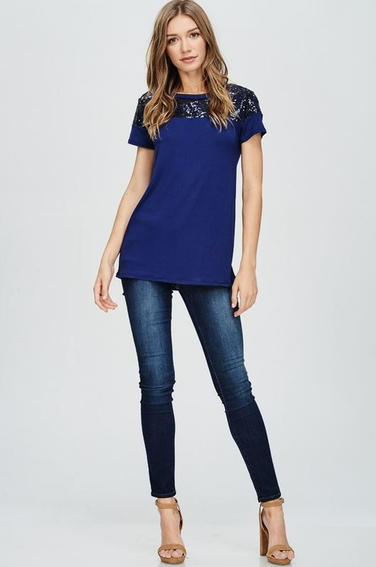 Perfectly Sequin Date Night Top in Navy