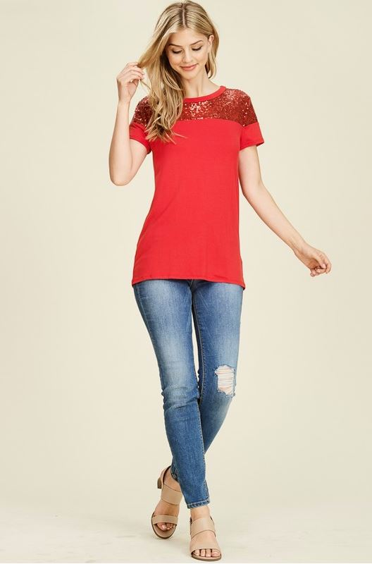 Perfectly Sequin Date Night Top in Red
