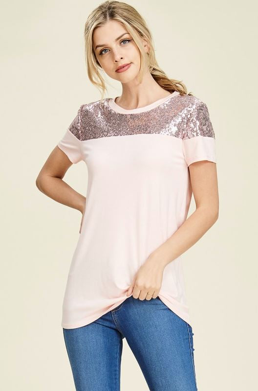 Perfectly Sequin Date Night Top in Rose