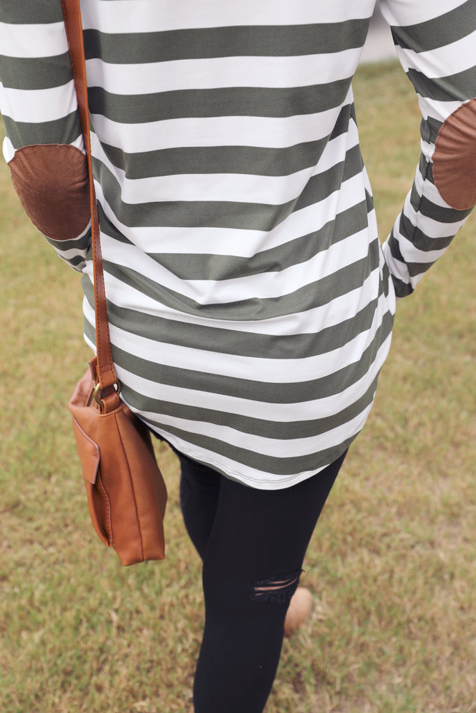 Stella Striped Raglan Top - Olive/Ivory
