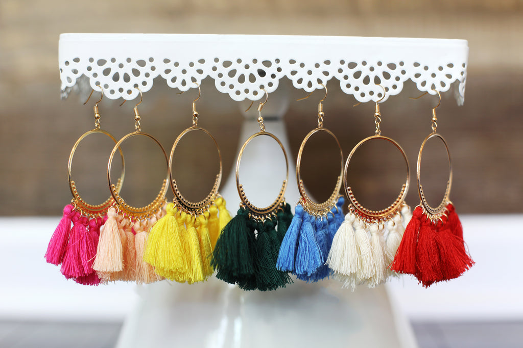 Boho Tassel Hoop Earrings in Yellow
