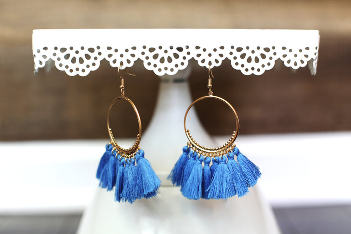 Boho Tassel Hoop Earrings in Blue