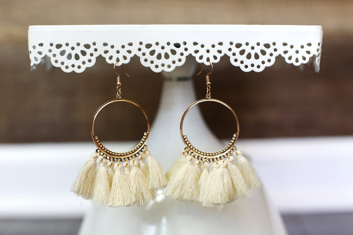 Boho Tassel Hoop Earrings in Cream