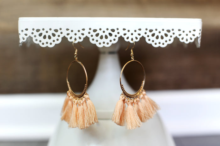 Boho Tassel Hoop Earrings in Peach