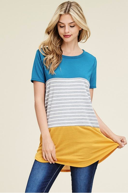 Kelley Colorblock Top in Teal/Mustard (PLUS)