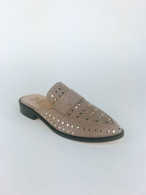 Taupe Studded Mules