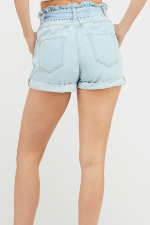 Light Denim Paperbag Shorts