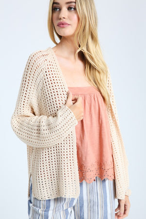 Natural Open Knit Cardigan