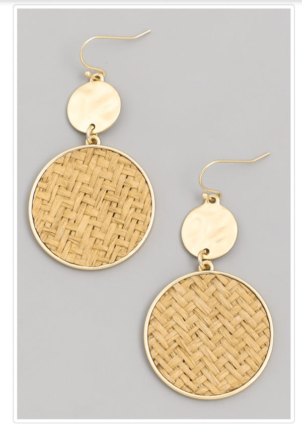 Straw Braid Disc Earring