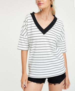 Stripe V Neck Top