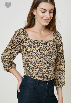 Button Down Leopard Top