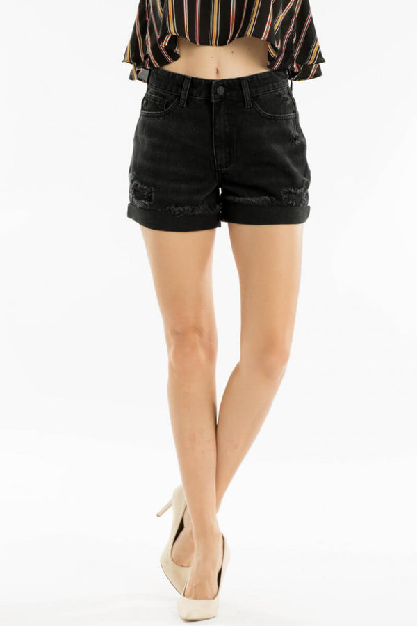 Black Distressed Kan Can Shorts