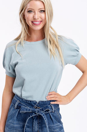 Dusty Blue Puff Sleeve Top