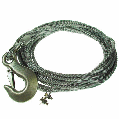 Winch Cable 8M Steel Wire with Galvanized Heavy Duty Hook - 6mm Diameter