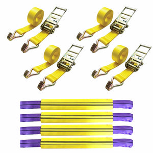 Vehicle Recovery Ratchet Tie Down Set  x 4